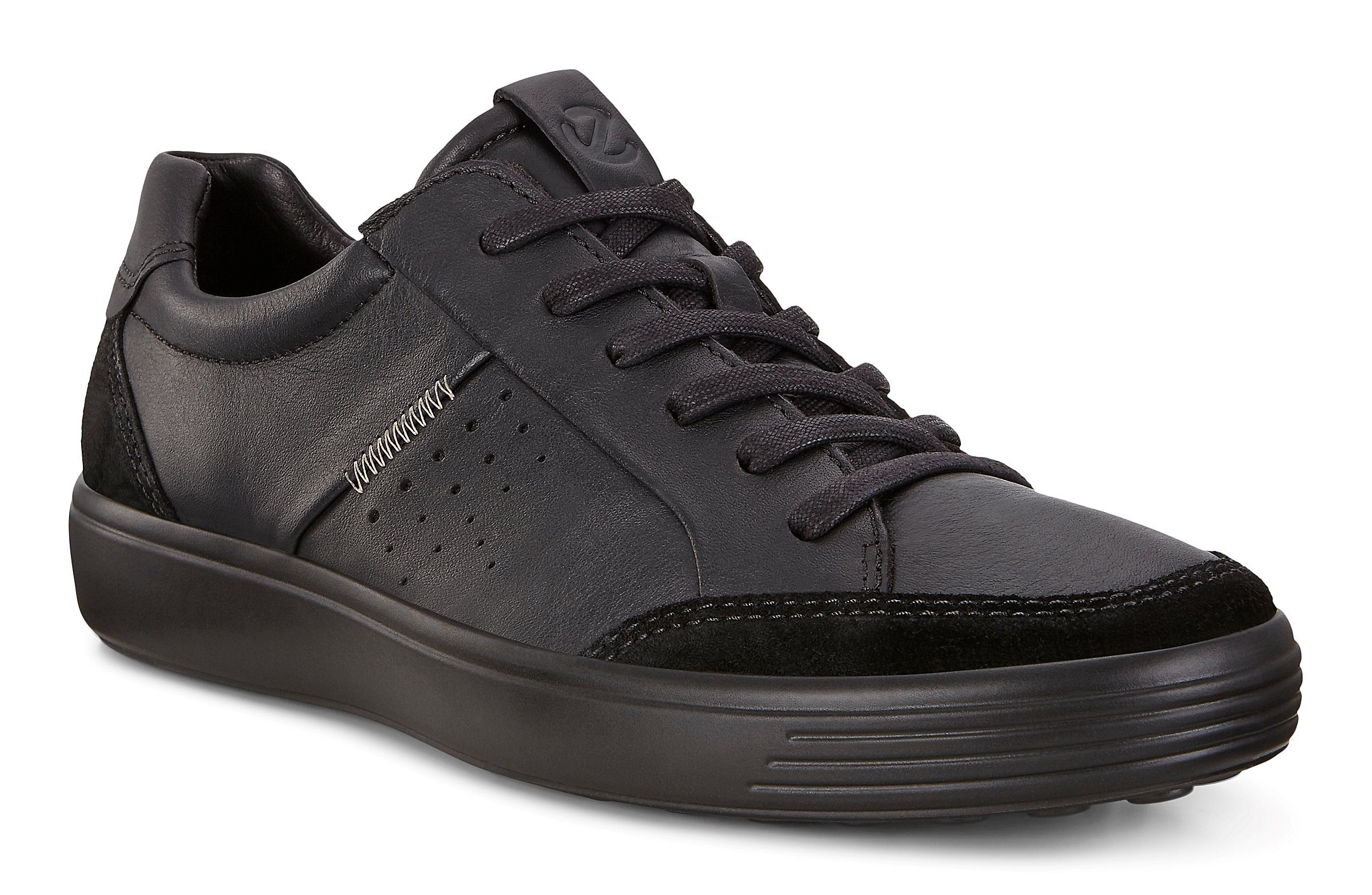 Ecco Soft 7 Black Womens Nubuck Casual Low-top Trainers