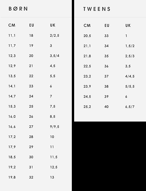 skostørrelse barn cm