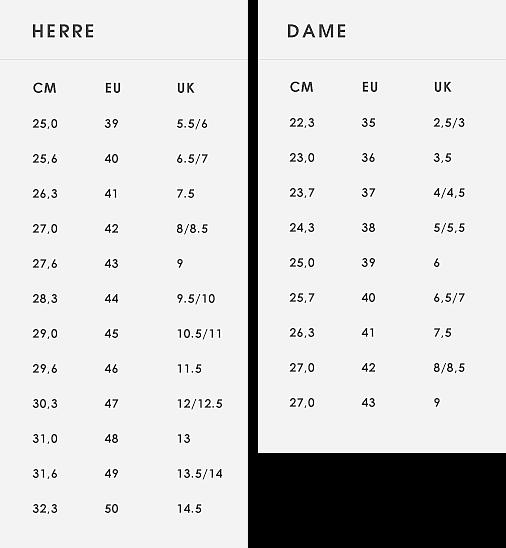 6fc7c7fa ECCO Størrelsesguide